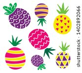flat pineapples  bright cartoon ... | Shutterstock .eps vector #1402892066