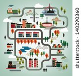 vector illustration. cityscape... | Shutterstock .eps vector #140290360