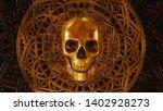 Gold Skull With Mandala Pattern