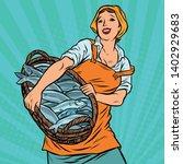 Woman Fisherman With A Basket...