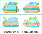 empty tropical sandy beaches... | Shutterstock . vector #1402936403