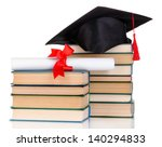grad hat with diploma and books ... | Shutterstock . vector #140294833