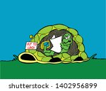 cartoon turtle at home reading... | Shutterstock .eps vector #1402956899