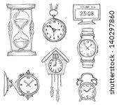 hand drawn clocks set eps8 | Shutterstock .eps vector #140297860
