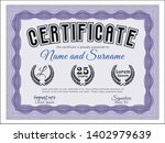 violet awesome certificate... | Shutterstock .eps vector #1402979639