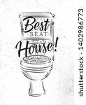 toilet in retro style lettering ... | Shutterstock .eps vector #1402986773
