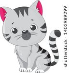 cute cartoon gray kitten on... | Shutterstock .eps vector #1402989299