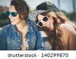 two beautiful happy girls in... | Shutterstock . vector #140299870
