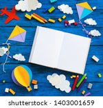 olourful toy bricks  paper... | Shutterstock . vector #1403001659