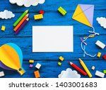 olourful toy bricks  paper... | Shutterstock . vector #1403001683