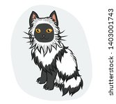 black and white long hair cat... | Shutterstock .eps vector #1403001743