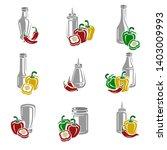 chili and pepper set.... | Shutterstock .eps vector #1403009993