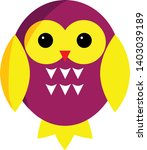 purple owl cartoon character.... | Shutterstock .eps vector #1403039189
