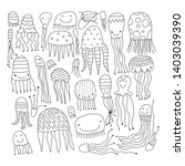 jellyfish collection  sketch... | Shutterstock .eps vector #1403039390