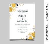 floral wedding invitation ... | Shutterstock .eps vector #1403045753