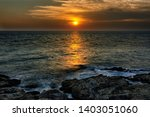 a dark tone of dawn sunset with ... | Shutterstock . vector #1403051060