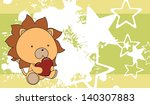 lion baby cartoon love heart... | Shutterstock .eps vector #140307883