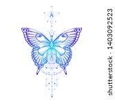 Stock vector vector illustration with hand drawn butterfly and sacred geometric symbol on white background 1403092523