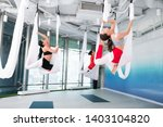 yoga together. active fit young ... | Shutterstock . vector #1403104820