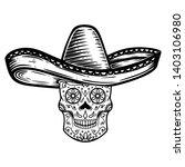 mexican sugar skull in sombrero.... | Shutterstock .eps vector #1403106980