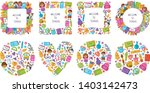 set of frames with kawaii... | Shutterstock .eps vector #1403142473