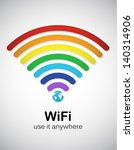 rainbow style wifi sign. eps10... | Shutterstock .eps vector #140314906