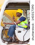 afro american man operates... | Shutterstock . vector #140317390