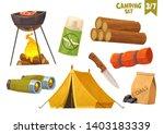 barbecue binoculars tent knife... | Shutterstock .eps vector #1403183339