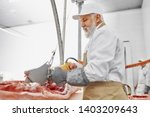 electric knife in meat... | Shutterstock . vector #1403209643