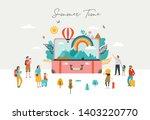 summer scene  group of people ... | Shutterstock .eps vector #1403220770
