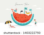 summer scene  group of people ... | Shutterstock .eps vector #1403222750