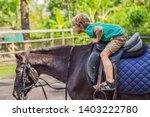 boy horseback riding ... | Shutterstock . vector #1403222780