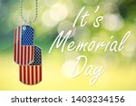american flag dog tags hanging... | Shutterstock . vector #1403234156