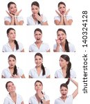 young woman face expressions... | Shutterstock . vector #140324128
