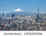 tokyo skyline with mt fuji and... | Shutterstock . vector #1403244206