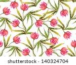 Pink Tulips Seamless Pattern