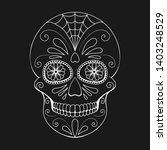 day of the dead skull with... | Shutterstock .eps vector #1403248529