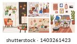 collection of interiors with... | Shutterstock .eps vector #1403261423