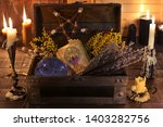 witch box with healing herbs ... | Shutterstock . vector #1403282756