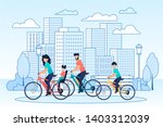 happy family riding bikes on... | Shutterstock .eps vector #1403312039