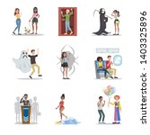 human phobia set. collection of ... | Shutterstock . vector #1403325896