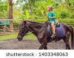boy horseback riding ... | Shutterstock . vector #1403348063