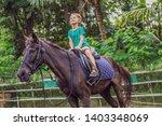 boy horseback riding ... | Shutterstock . vector #1403348069