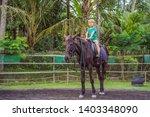 boy horseback riding ... | Shutterstock . vector #1403348090