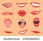set of female lips with various ... | Shutterstock . vector #1403366963