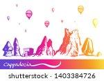 cappadocia. hand drawn turkish... | Shutterstock .eps vector #1403384726