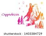 cappadocia. hand drawn turkish... | Shutterstock .eps vector #1403384729