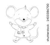 cute mouse cartoon vector... | Shutterstock .eps vector #1403386700