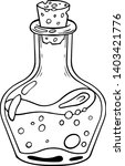 magic glass bottle with liquid  ... | Shutterstock .eps vector #1403421776