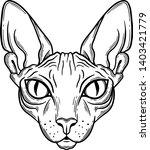sphinx cat head line art ... | Shutterstock .eps vector #1403421779